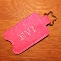 Desinfektionsmittel Halter rosa weiß mit Namen Bild 2
