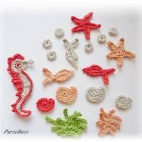 18-teiliges Häkelset:Seepferdchen,Seesterne,Schnecken,Fische,Koralle,Seegras - Applikation,Aufnäher,leinen Bild 4