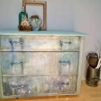 Schubladenkommode upcycling mit Kreidefarben Saltwash raise *Mermaids Castle* Shabby Chic Handarbeit Bild 2