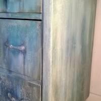 Schubladenkommode upcycling mit Kreidefarben Saltwash raise *Mermaids Castle* Shabby Chic Handarbeit Bild 4