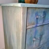 Schubladenkommode upcycling mit Kreidefarben Saltwash raise *Mermaids Castle* Shabby Chic Handarbeit Bild 5