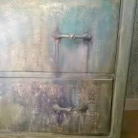 Schubladenkommode upcycling mit Kreidefarben Saltwash raise *Mermaids Castle* Shabby Chic Handarbeit Bild 9