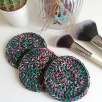 Große Kosmetikpads aus Bio-Baumwolle 3er Set 3 Stück Abschminkpads Baumwolle grau Regenbogen Bild 1