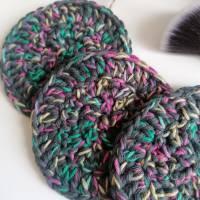 Große Kosmetikpads aus Bio-Baumwolle 3er Set 3 Stück Abschminkpads Baumwolle grau Regenbogen Bild 2