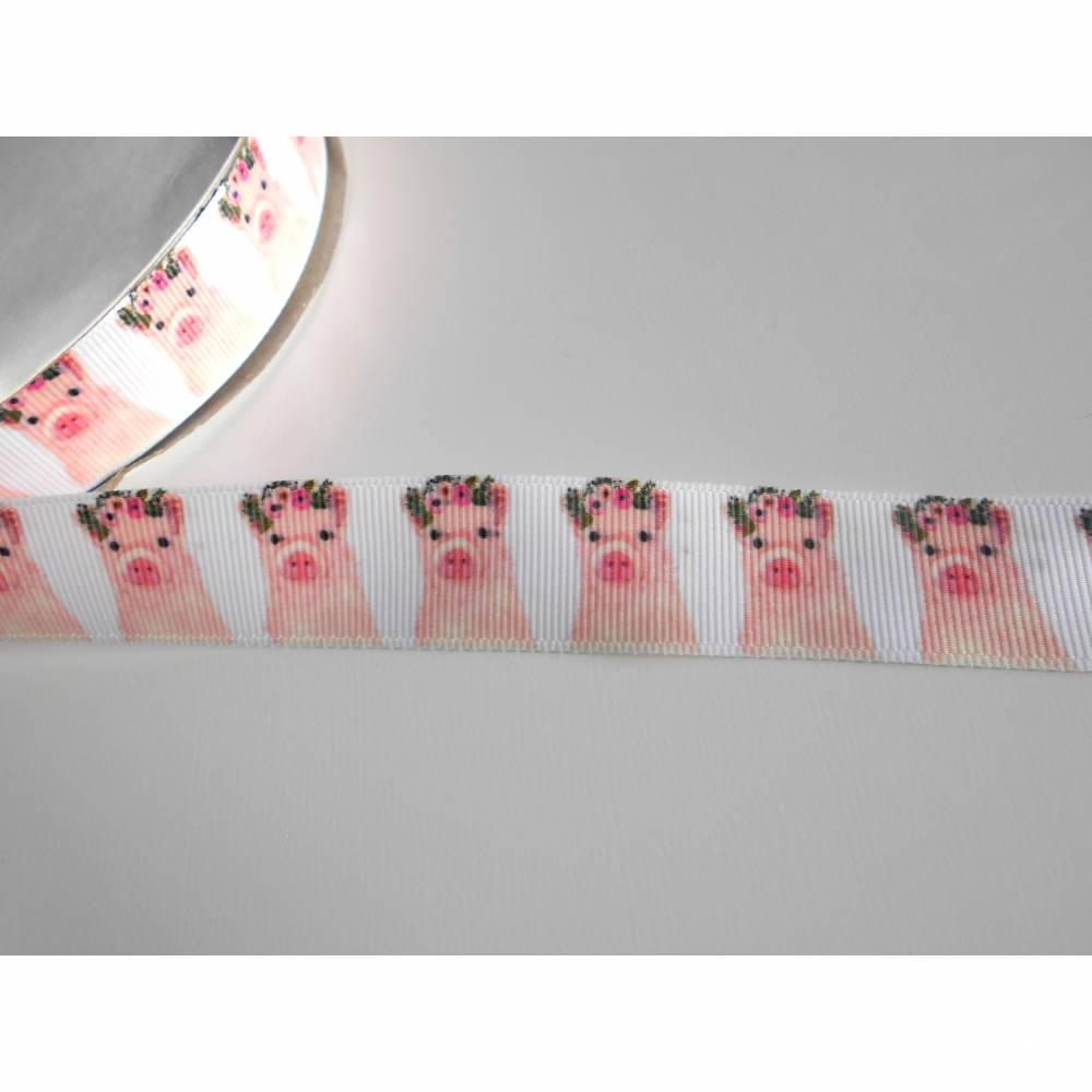 Schwein  mit Blumen  22 mm  Borte Ripsband, schweinchen  Bild 1