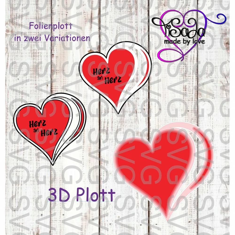 """3D Plotterdatei """"Herz an Herz"""" inkl. SVG für Folienplott Bild 1"""