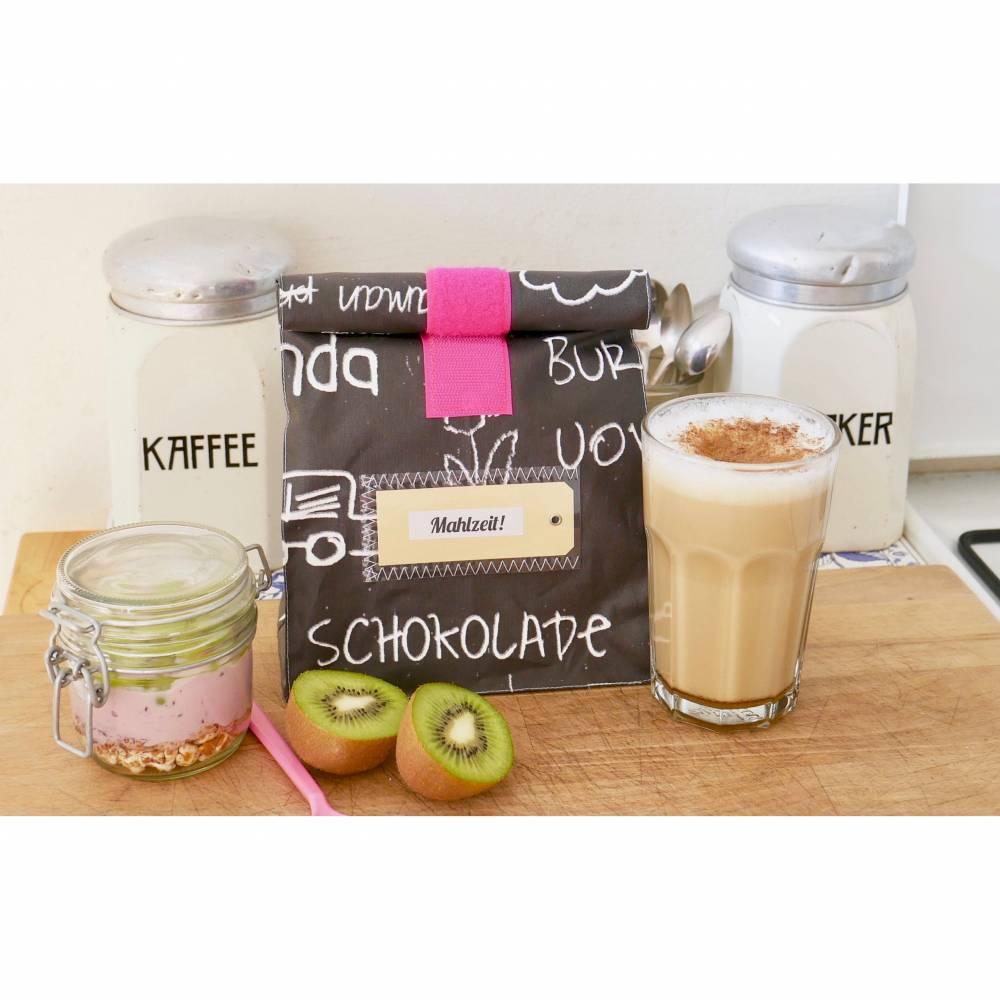 Lunchbag, Brotzeitbeutel, schwarz- weiß, Tafelstoff,  beschichtete Baumwolle, wasserabweisend Bild 1