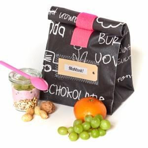 Lunchbag, Brotzeitbeutel, schwarz- weiß, Tafelstoff,  beschichtete Baumwolle, wasserabweisend Bild 2