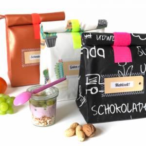 Lunchbag, Brotzeitbeutel, schwarz- weiß, Tafelstoff,  beschichtete Baumwolle, wasserabweisend Bild 4