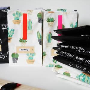 Lunchbag, Brotzeitbeutel, schwarz- weiß, Tafelstoff,  beschichtete Baumwolle, wasserabweisend Bild 6