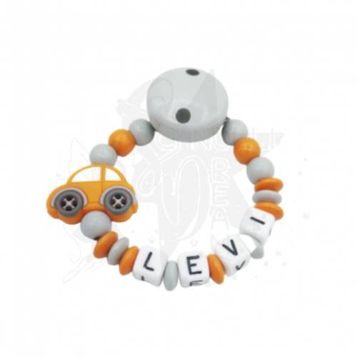 Schnullerkette mit Namen &  Silikon Auto orange/hellgrau