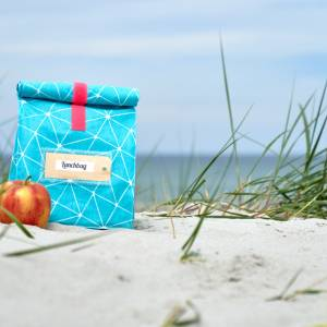 Lunchbag groß, Frühstückstüte, Strandtasche für nasses Schwimmzeug, petrol- gelb, wasserabweisend Bild 8
