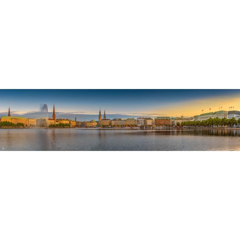 Hamburg Foto Datei - Binnenalster einzigartiges Panorama, Höhe 30 cm, Breite 116,24 cm - zum Selbstdruck Bild 1
