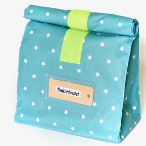 Lunchbag groß, Badetasche, türkis mit Sternchen, wasserabweisend Bild 5