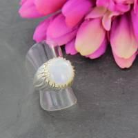 Mondstein Silberring Größe 52 glänzend 925er Sterling Silber Krone mit feiner Goldauflage Bild 4