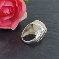 Mondstein Silberring Größe 52 glänzend 925er Sterling Silber Krone mit feiner Goldauflage Bild 5