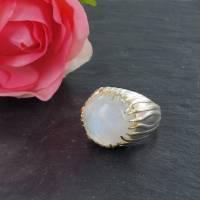 Mondstein Silberring Größe 52 glänzend 925er Sterling Silber Krone mit feiner Goldauflage Bild 6