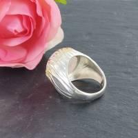 Mondstein Silberring Größe 52 glänzend 925er Sterling Silber Krone mit feiner Goldauflage Bild 7