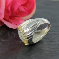 Mondstein Silberring Größe 52 glänzend 925er Sterling Silber Krone mit feiner Goldauflage Bild 8