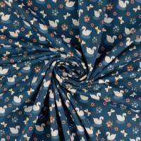 Bio Baumwolljersey kleiner Schwan jeansblau Organic Cotton(1m/14,-€)  Bild 1