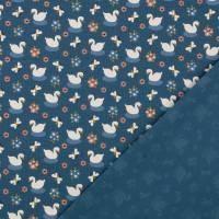 Bio Baumwolljersey kleiner Schwan jeansblau Organic Cotton(1m/14,-€)  Bild 3