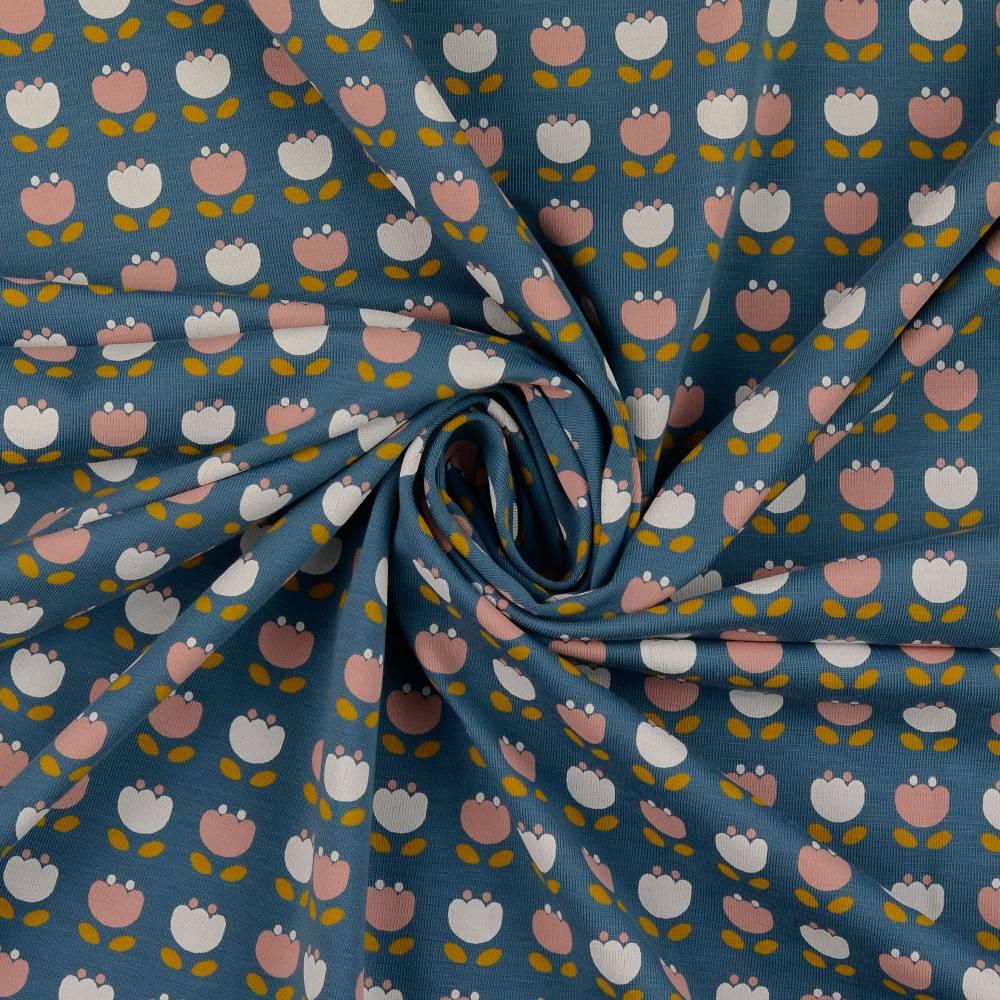 Bio Baumwolljersey Blumen jeansblau Organic Cotton(1m/14,-€)  Bild 1