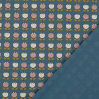 Bio Baumwolljersey Blumen jeansblau Organic Cotton(1m/14,-€)  Bild 3