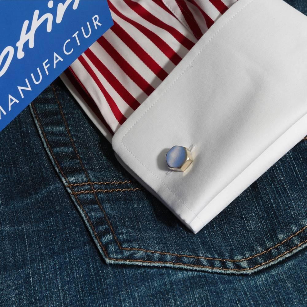 """maskuliner Manschettenknöpfe """"Sechskant"""" in 925 Silber. Origineller, hochwertiger Hemdenverschluß eine ausgewogene Form Bild 1"""