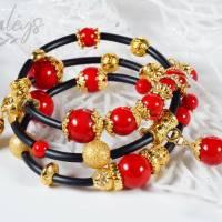 Memory Wire Edelsteinarmband für Damen, rot schwarz golden Korall Achat Bild 2