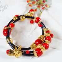 Memory Wire Edelsteinarmband für Damen, rot schwarz golden Korall Achat Bild 3