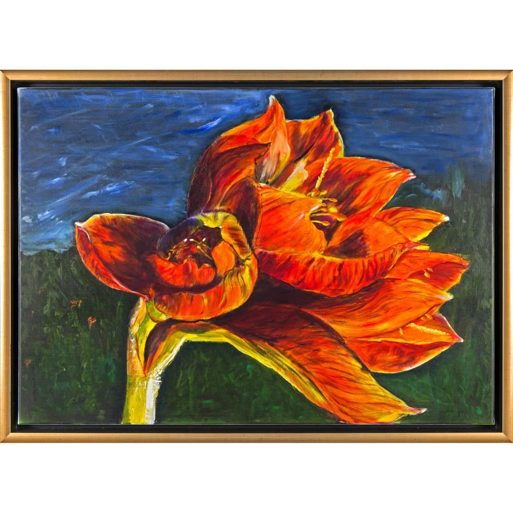 Amaryllis - Original Ölmalerei, gerahmt Bild 1