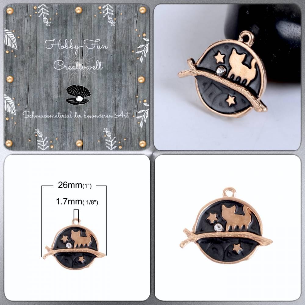 Vergoldeter Katzenanhänger, ca. 26x22x2,5mm Bild 1