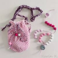 Rechenkette im Brustbeutel Weiß Rosa Rosé Pink mit Glückwunschkarte und Geschenktasche Bild 1