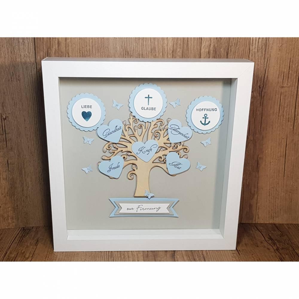 Firmungsgeschenk, Bilderrahmen, Lebensbaum zur Firmung, Junge, originelles Geschenk zur Firmung Bild 1