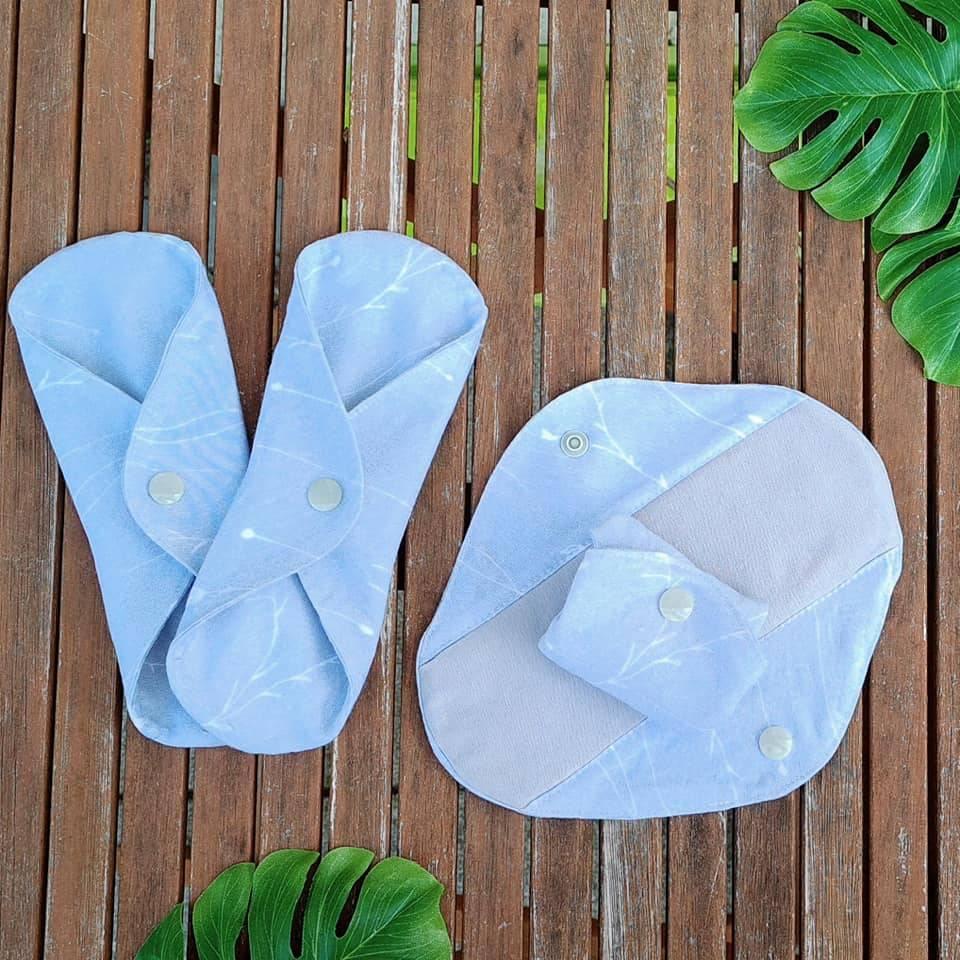 Set waschbare Bambus Sommer Stoffbinden / Slipeinlagen - für Menstruation / Periode / Blasenschwäche / Inkontinenz Bild 1