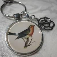 """Schlüsselanhänger Rotkehlchen Vogel """"Rouge"""" Geschenkidee Geburtstagsgeschenk  Bild 1"""