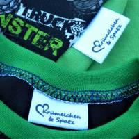 Textiletiketten 24 Stk. Satinband 30x30 Wunschtext/Logo einfarbig einseitig bedruckt Bild 2