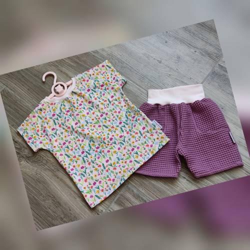 KinderSet Gr.104 kurze Hose Shorts & T-Shirt Gr.104 KinderHose & KinderShirt Mädchen Gr.104 Waffelpiquehose & T-Shirt