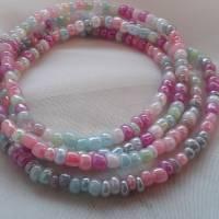 Wickelarmband, Perlen Armband, Rocailles Armband, Pastell Farben Bild 1