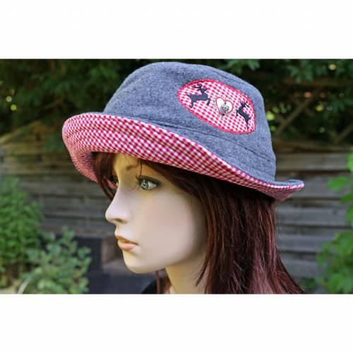 bestickter Hut zum Oktoberfest aus Wolle / Baumwolle, Wendehut, Bucket Hat oder Fischerhut im Trachten Stil, UNIKAT Gr L