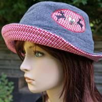 bestickter Hut zum Oktoberfest aus Wolle / Baumwolle, Wendehut, Bucket Hat oder Fischerhut im Trachten Stil, UNIKAT Gr L Bild 1