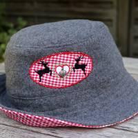 bestickter Hut zum Oktoberfest aus Wolle / Baumwolle, Wendehut, Bucket Hat oder Fischerhut im Trachten Stil, UNIKAT Gr L Bild 10