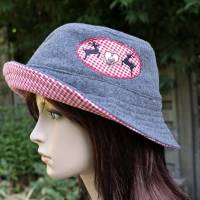 bestickter Hut zum Oktoberfest aus Wolle / Baumwolle, Wendehut, Bucket Hat oder Fischerhut im Trachten Stil, UNIKAT Gr L Bild 2