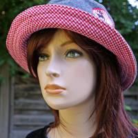 bestickter Hut zum Oktoberfest aus Wolle / Baumwolle, Wendehut, Bucket Hat oder Fischerhut im Trachten Stil, UNIKAT Gr L Bild 3