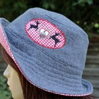 bestickter Hut zum Oktoberfest aus Wolle / Baumwolle, Wendehut, Bucket Hat oder Fischerhut im Trachten Stil, UNIKAT Gr L Bild 5