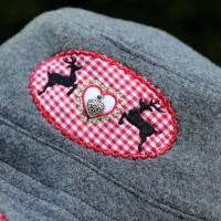 bestickter Hut zum Oktoberfest aus Wolle / Baumwolle, Wendehut, Bucket Hat oder Fischerhut im Trachten Stil, UNIKAT Gr L Bild 6