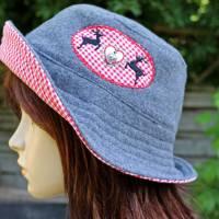 bestickter Hut zum Oktoberfest aus Wolle / Baumwolle, Wendehut, Bucket Hat oder Fischerhut im Trachten Stil, UNIKAT Gr L Bild 7
