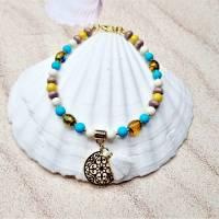 Fußkettchen in gelb und türkis mit Quaste und Mandala Anhänger, Boho Fußkettchen Bild 1
