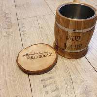 Bierkrug aus massivem Eichenholz Eiche Krug Holzkrug ca. 0,5L Edelstahleinsatz, Bierliebhaber, Bierkenner Bild 4