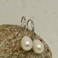 Perlenohrringe als Brautschmuck, echte Perlen, große Süsswasserperlen Tropfen 8 x 11 mm, Sterling Silber Bild 5